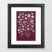 Let It Snow - Berry Framed Art Print