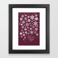 Let It Snow - Berry Framed Art Print