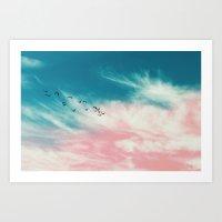 EVENING BIRDS Art Print
