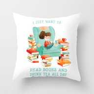 Read Books And Drink Tea Throw Pillow