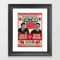 Jack Donaghy vs. Ron Swanson Fight Poster Framed Art Print