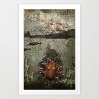 paper III :: octopus/ship Art Print