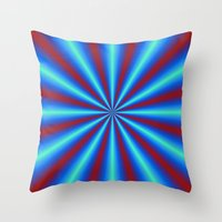 Red And Blue Pleats Throw Pillow