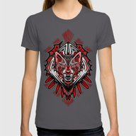 Wolf Tattoo Style Haida … Womens Fitted Tee Asphalt SMALL