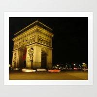 Arc De Triomphe By Night Art Print