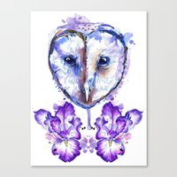 Owl And Irises Canvas Print