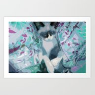 Art Print featuring Nestled Kitten In Comfor… by Distortion Art