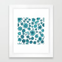 Blue Flowers on White Framed Art Print