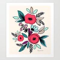 Romantic Vintage Floral … Art Print