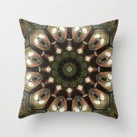 Rusty Alien Head Mandala Throw Pillow