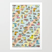 Colorful Shoes Cartoon Patterns Art Print