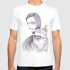 Wolf Like Me White SMALL Mens Fitted Tee
