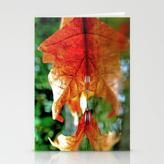Autumn leaf reflected Stationery Card