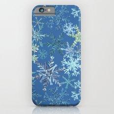 icy snowflakes on blue iPhone 6 Slim Case