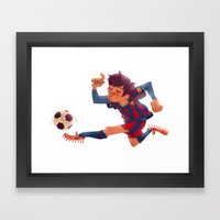 Lionel Messi, Barcelona Jersey Framed Art Print