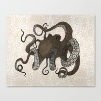 Brown Octopus Canvas Print