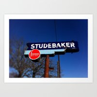 STUDEBAKER LOT SIGN Art Print