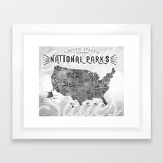 National Parks Map Framed Art Print