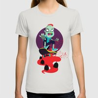 Skater zombie Womens Fitted Tee Silver SMALL