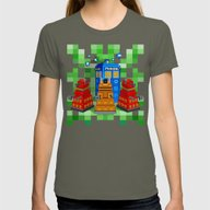8bit Dalek With Tardis D… Womens Fitted Tee Lieutenant LARGE