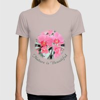 Lovely pink orchid flower color pencil sketch. floral photo art. Womens Fitted Tee Cinder SMALL