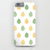 iPhone Cases featuring Yellow and green raindrops by Savousepate