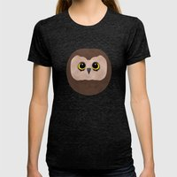 Chubby Little Owl Womens Fitted Tee Tri-Black SMALL
