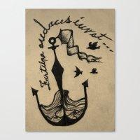Anchor, Navy Birds Canvas Print