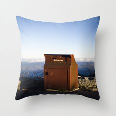 Miles high trash can Throw Pillow