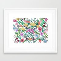 Flower burst, Illustration, print, art, pattern, floral, flowers, colour, painting, design, Framed Art Print