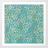 Dots And Rings-Blue Art Print