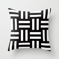 B/W rail fence pattern Throw Pillow