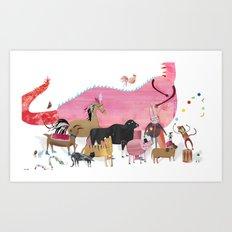 ANIMALS and a dragon Art Print