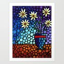 You Cant Hide Beautiful - Lively floral by Labor of Love artist Sharon Cummings. Art Print