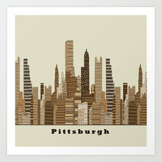 Pittsburgh skyline vintage Art Print