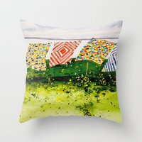 quilts along the bay Throw Pillow