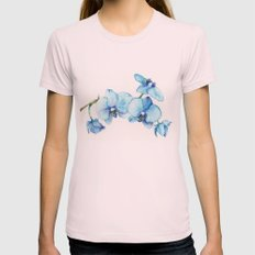 Blue Orchids - Watercolor Womens Fitted Tee Light Pink SMALL
