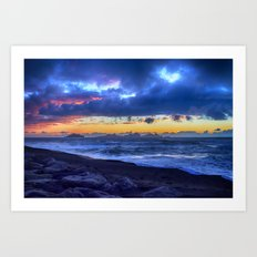 Stormy Icelandic Sunset Art Print