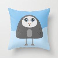Cute Geometric Penguin Throw Pillow