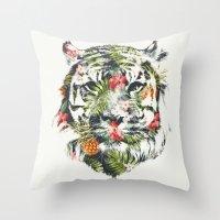 Tropical tiger Throw Pillow