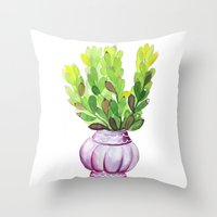 Succulent Vase Throw Pillow
