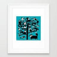 ANIMAL TREE AQUA Framed Art Print