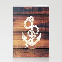 Vintage Nautical Anchor White on Brown Wood Grain Stationery Cards
