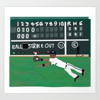 Milwaukee Brewers LF, Khris Davis, Makes a Great Catch at Fenway Park (Early April, 2014)  Art Print