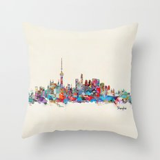 Shanghai skyline Throw Pillow