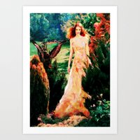 Lady In The Garden - Painting Style Art Print