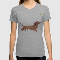 Dachshund Sausage Dog Womens Fitted Tee Athletic Grey SMALL