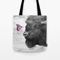 Bison and Butterfly Tote Bag