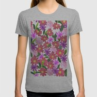 Flower Design Womens Fitted Tee Athletic Grey SMALL