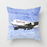 Qatar Airlines Airbus A380 Art Throw Pillow